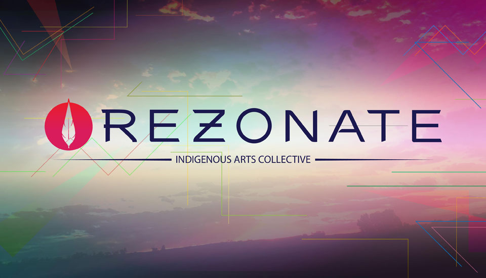 Collage image of line, color, and photography and REZONATE logo